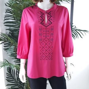 Banana Republic Pink Embroidered 3/4 Sleeve Top L